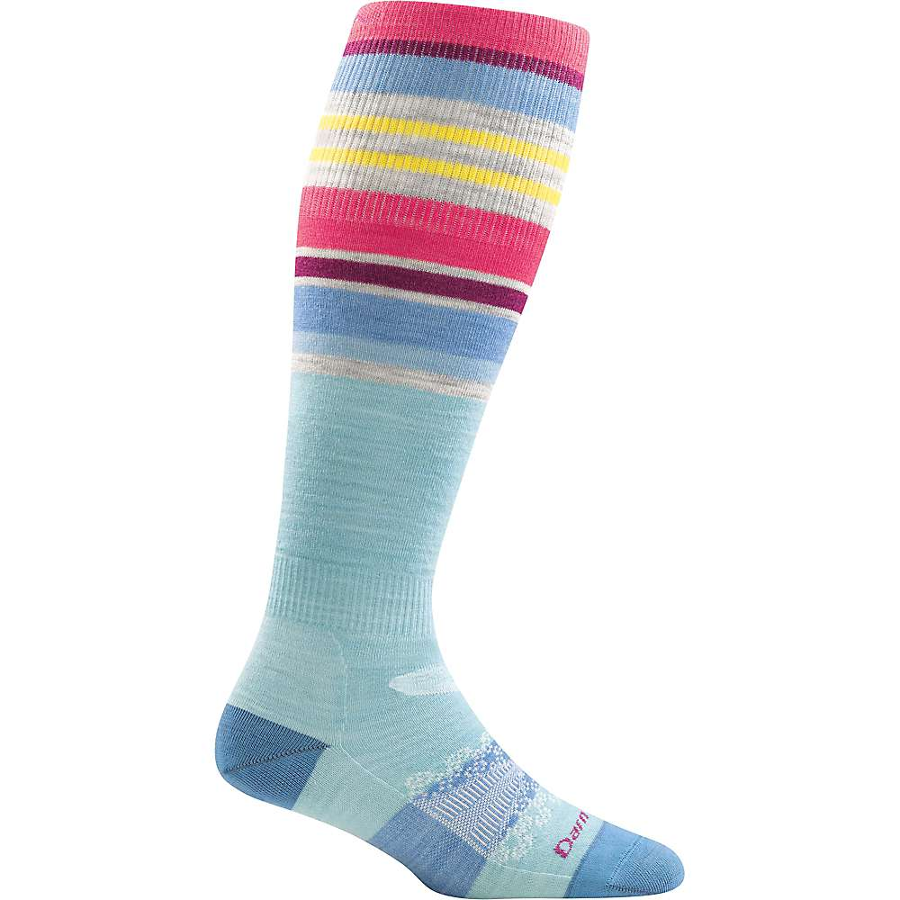 Darn Tough Women's Glacier Stripe OTC Sock - Medium - Light Blue