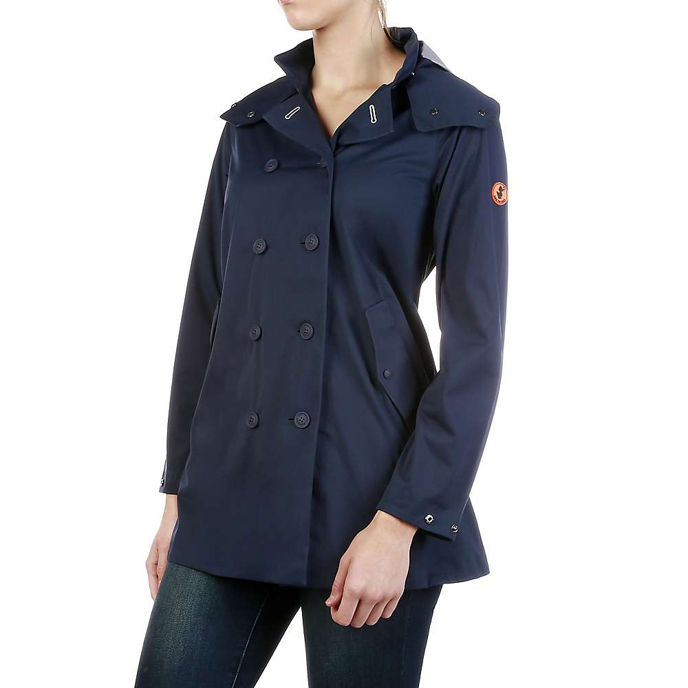 Save The Duck Womens Full Length Hooded & Double Breasted Rain Coat - 1-S - Navy Blue