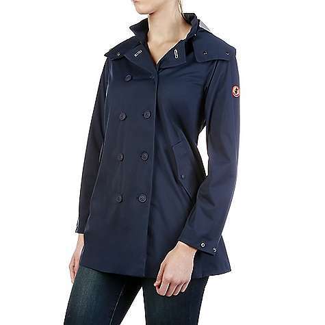 Save The Duck Womens Full Length Hooded & Double Breasted Rain C Navy Blue Save The Duck Womens Full Length Hooded & Double Breasted Rain Coat - Navy Blue - in stock now. FEATURES of the Save The Duck Womens Full Length Hooded & Double Breasted Rain Coat Double-breast rain jacket with detachable hood Side pockets with snap closure and adjustable sleeve-bottom Practical and compact, it can be easily carried using its bag 65% Polyurethane, 35% Polyester