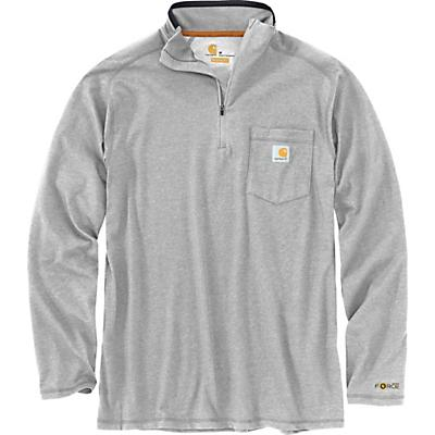 Carhartt Force Relaxed-Fit Midweight LS 1/4 Zip Pocket T-Shirt - Heather Grey - Men