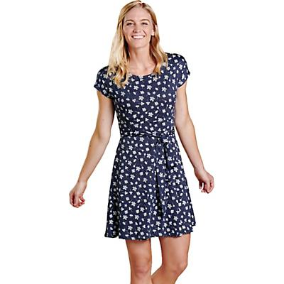 Toad & Co Cue Wrap SS Dress - True Navy Tossed Floral Print - Women