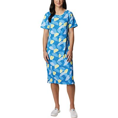 Columbia Freezer Mid Dress - Azure Blue Ditsy Leaves Print - Women