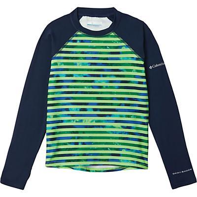 Columbia Youth Sandy Shores Printed LS Sunguard Top - Green Mamba Tie Dye Stripe / Coll Navy
