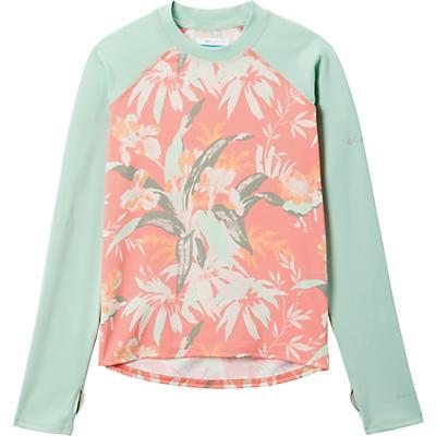 Columbia Youth Sandy Shores Printed LS Sunguard Top - Melonade Magnolia Floral / New Mint