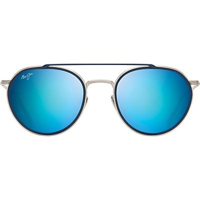 Maui Jim Bowline Polarized Sunglasses - Silver Matte with Dark Navy Insert / Blue Hawaii