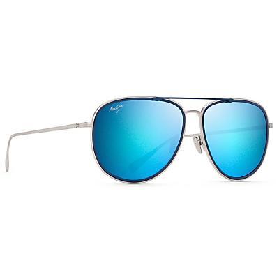 Maui Jim Fair Winds Polarized Sunglasses - Silver Matte with Dark Navy Insert / Blue Hawaii