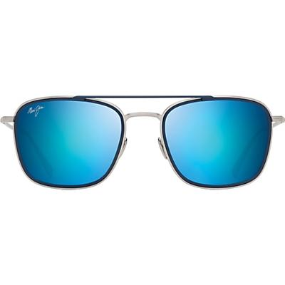 Maui Jim Following Seas Polarized Sunglasses - Silver Matte with Dark Navy Insert / Blue Hawaii