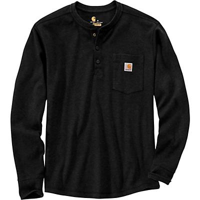 Carhartt Relaxed Fit Heavyweight LS Henley Pocket Thermal T-Shir - Black - Men