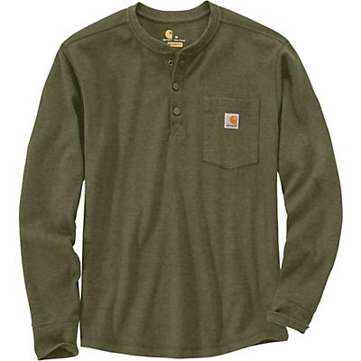 Carhartt Relaxed Fit Heavyweight LS Henley Pocket Thermal T-Shir - Large Regular - Winter Moss - Men