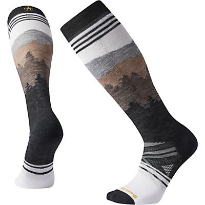 Smartwool PhD Ski Medium Alpenglow Pattern Over The Calf Sock - White