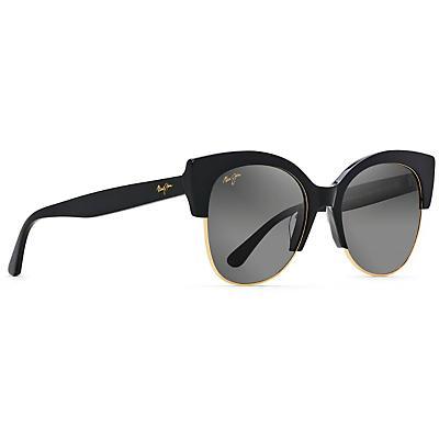 Maui Jim Mariposa Polarized Sunglasses - Black Gloss with Gold / Neutral Grey