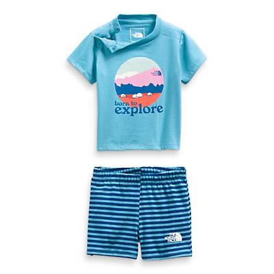 The North Face Infant Cotton Summer Set - Niagara Blue Mini Stripe Print