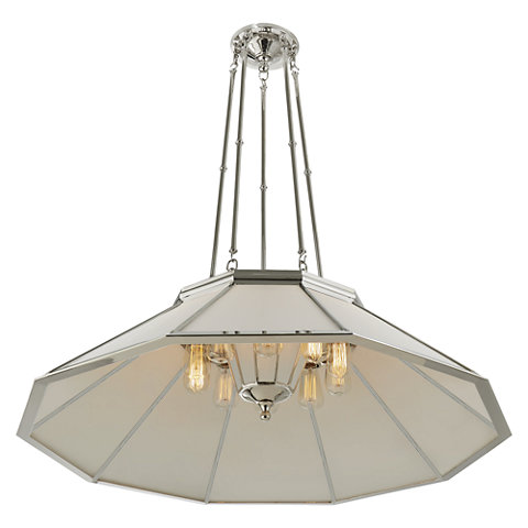 Gl Ceiling Fixtures Lighting Products Ralph Rivington Large Round Billiard Pendant In Polished Nickel With White