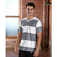 Mens R-Gear Rock Solid Stripe Tee Short Sleeve Technical Top - White/Heather Charcoal L