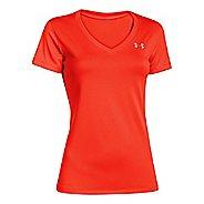 Womens Under Armour Tech V-Neck Short Sleeve Technical Tops - Dark Orange XS