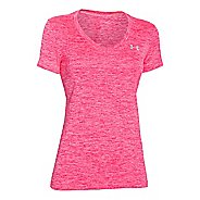 Womens Under Armour Tech V-Neck Twist Short Sleeve Technical Tops - Harmony Red S