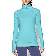 Womens Under Armour Coldgear Cozy Neck Long Sleeve No Zip Technical Tops - Veneer/Silver M