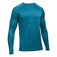 Mens Under Armour Tech Patterned T Long Sleeve No Zip Technical Tops - Bayou Blue L