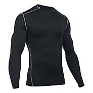 Mens Under Armour Coldgear Armour Compression Mock Long Sleeve No Zip Technical Tops - Black XXL