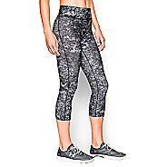 Womens Under Armour Heatgear Armour Printed Capri Tights - Black/Silver S