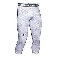 Mens Under Armour HeatGear 3/4 Printed Legging Capris Pants - White/Black XXLR