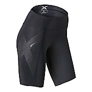 Womens 2XU Mid-Rise Compression Unlined Shorts - Black/Dotted M