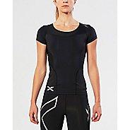 Womens 2XU Compression Short Sleeve Technical Tops - Black/Black L