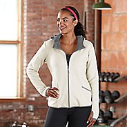 Womens Road Runner Sports Keep Movin' Bonded Fleece Outerwear Jackets - Ivory/Dove Grey L