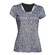 Womens Under Armour HeatGear Flyweight Printed T Short Sleeve Technical Tops - Black/White S