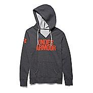 Womens Under Armour Favorite Fleece Wordmark Hoodie & Sweatshirts Technical Tops - Carbon/Dark ...