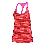 Womens Under Armour Alpha Mesh Printed Loose Tank Technical Tops - Rebel Pink/Orange L