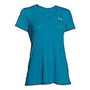 Womens Under Armour Slub Tech V Neck Short Sleeve Technical Tops - Aqua Blue XL