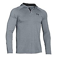 Mens Under Armour Tech Popover Henley Half-Zips & Hoodies Technical Tops - Steel/Black S