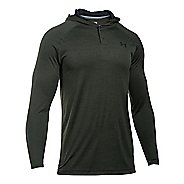 Mens Under Armour Tech Popover Henley Half-Zips & Hoodies Technical Tops - Army Green/Black XL