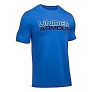 Mens Under Armour Wordmark Tee Short Sleeve Technical Tops - Stealth Grey/White XL