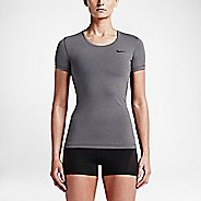 Womens Nike Pro Cool Short Sleeve Technical Tops - Heather Grey XS