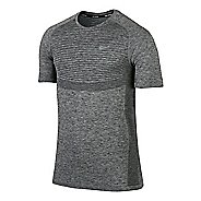 Mens Nike Dri-Fit Knit Short Sleeve Technical Tops - Black/Heather S