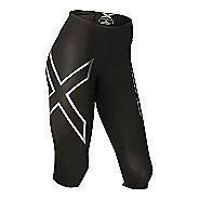 Womens 2XU Hyoptik Mid-Rise Thermal Compression Full Length Tights - Black/Silver XS