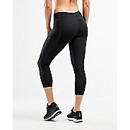 Womens 2XU Mid-Rise 7/8 Compression Tights & Leggings Pants - Black/Dotted Black XS