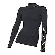 Womens 2XU Elite MCS Thermal Compression Long Sleeve Technical Tops - Black/Gold L