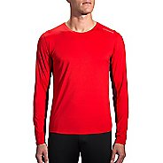 Mens Brooks Steady Long Sleeve Technical Tops - Lava/Root L