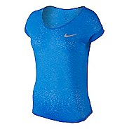 Womens Nike Dri-Fit Cool Breeze Short Sleeve Technical Tops - Light Photo Blue L