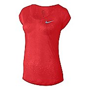 Womens Nike Dri-Fit Cool Breeze Short Sleeve Technical Tops - Light Crimson L