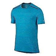 Mens Nike Dri-FIT Cool Tailwind Stripe Short Sleeve Technical Tops - Omega Blue S