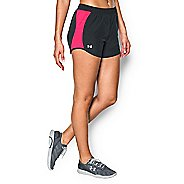 Womens Under Armour Fly By Run Lined Shorts - Anthracite/Red L