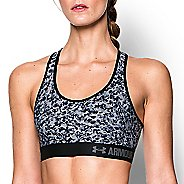 Womens Under Armour Printed Mid Sports Bras - White/Black M