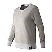 Womens New Balance Crewneck Sweater Hoodie & Sweatshirts Technical Tops - Sea Salt Heather XL