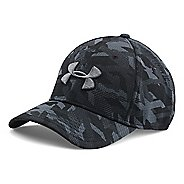 Mens Under Armour Print Blitzing Stretch Fit Cap Headwear - Black/Stealth Grey M/L
