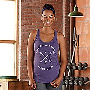 Womens Road Runner Sports Track Club Graphic Sleeveless & Tank Technical Tops - Heather Purple L
