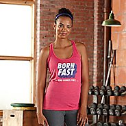 Womens Road Runner Sports Born Fast Graphic Sleeveless & Tank Technical Tops - Heather Fuchsia L